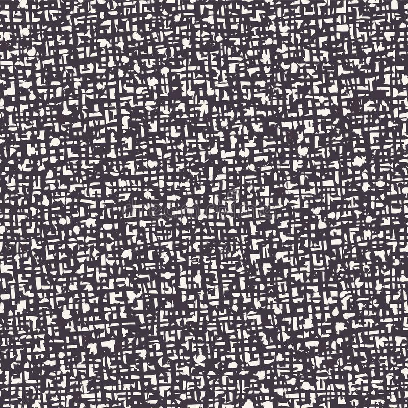 Seamless pattern. Hand drawn abstract hessian fabric texture. Stylish monochrome overlay background. Elegant simple textile brush. Seamless pattern. Hand drawn stock illustration