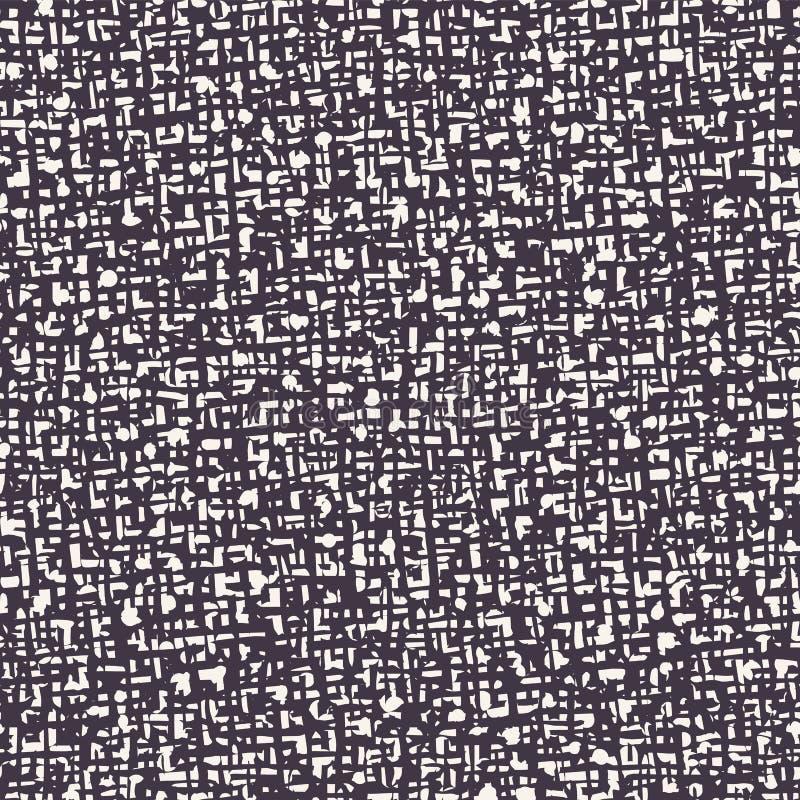 Seamless pattern. Hand drawn abstract hessian fabric texture. Stylish monochrome overlay background. Elegant simple textile brush. Seamless pattern. Hand drawn royalty free illustration