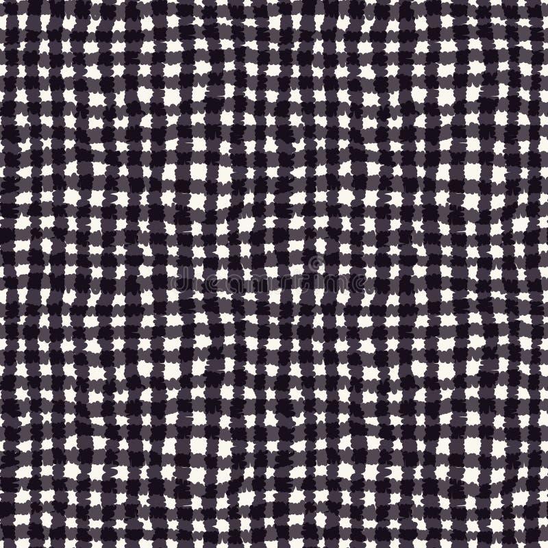 Seamless pattern. Hand drawn abstract hessian plaid fabric texture. Monochrome overlay background. Woven tartan cross textile stock illustration