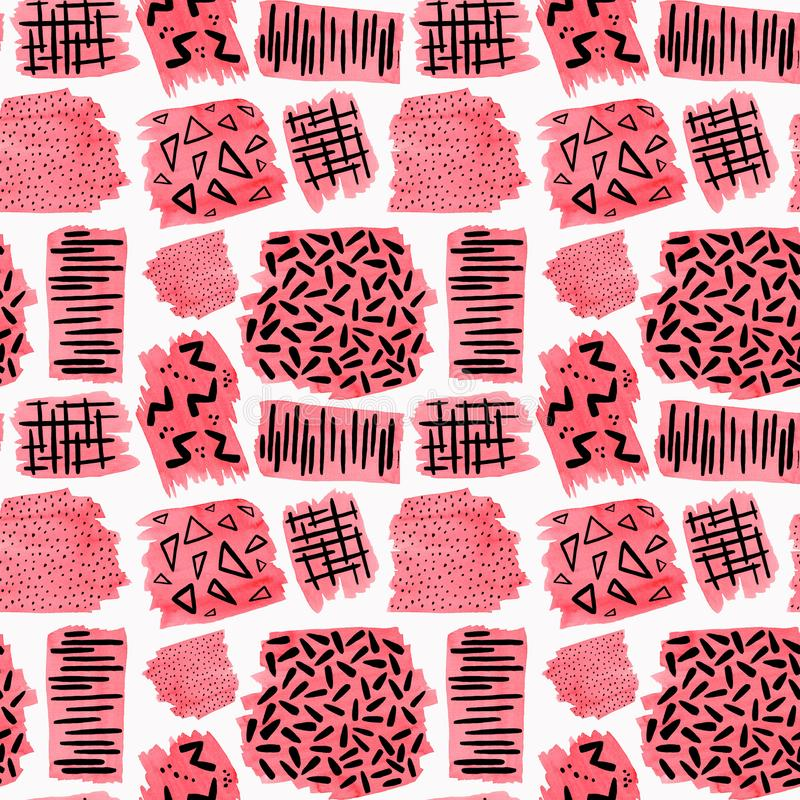 Seamless pattern with hand drawn aquarell coral patch and black gouache doodle. Abstract seamless pattern with hand drawn aquarell coral patch and black gouache vector illustration