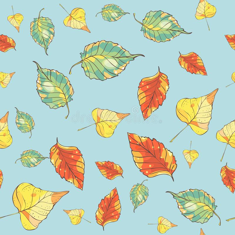 Seamless pattern with hand drawn autumn leaves on blue background vector illustration