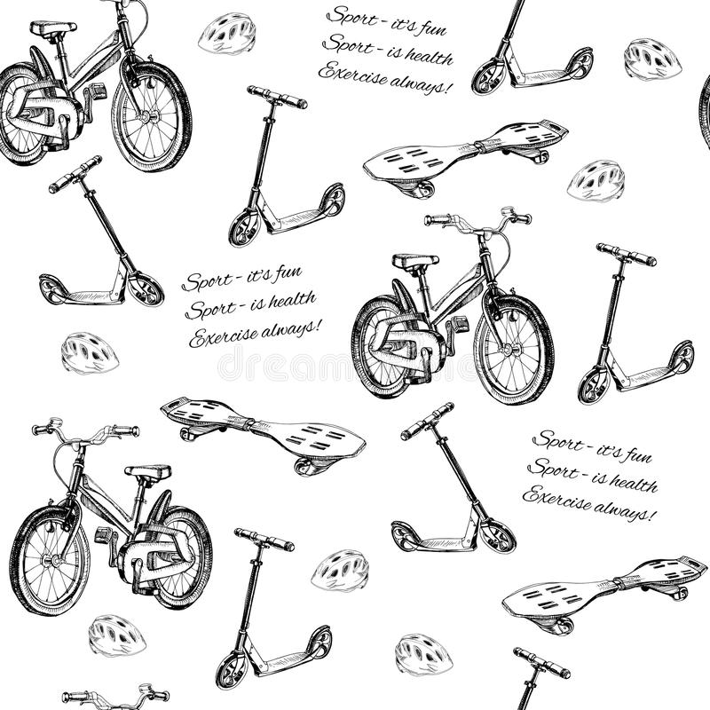 Seamless pattern of hand drawn baby bike, scooter, wave board an. Vector illustration of seamless pattern of hand drawn baby bike, scooter, wave board and helmet vector illustration
