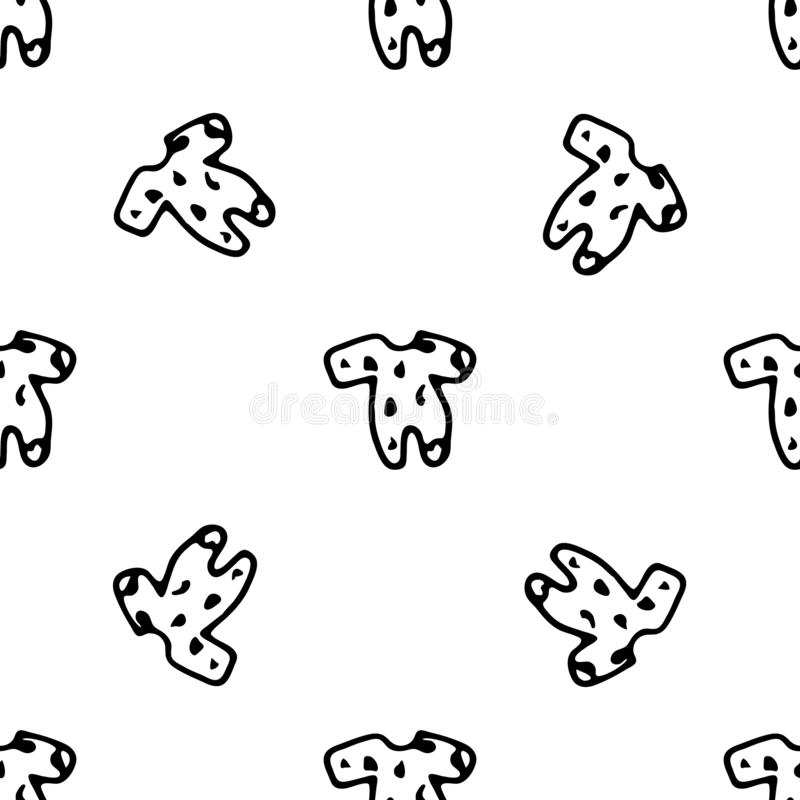 Seamless pattern Hand drawn baby bodysuit doodle. Sketch children`s toy icon. Decoration element. Isolated on white background. stock illustration