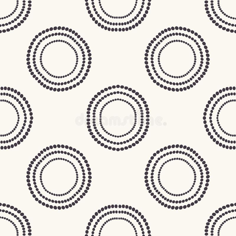 Seamless pattern. Hand drawn polka dot background. Monochrome dotty black and white concentric circle. All over print vector. Seamless pattern. Hand drawn royalty free illustration