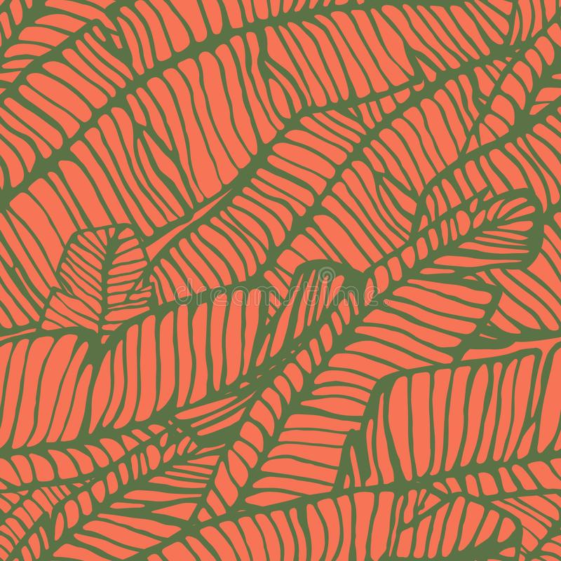 Seamless pattern of hand-drawn banana leaves. Vector royalty free illustration