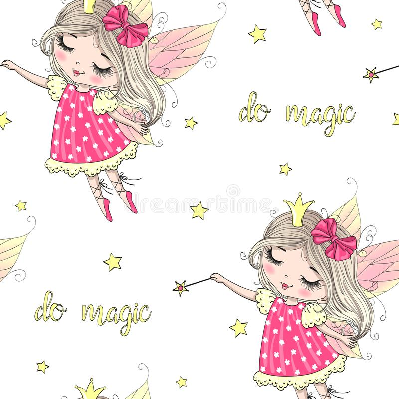 Hand drawn beautiful cute little fairy girl with a Magic wand. royalty free illustration