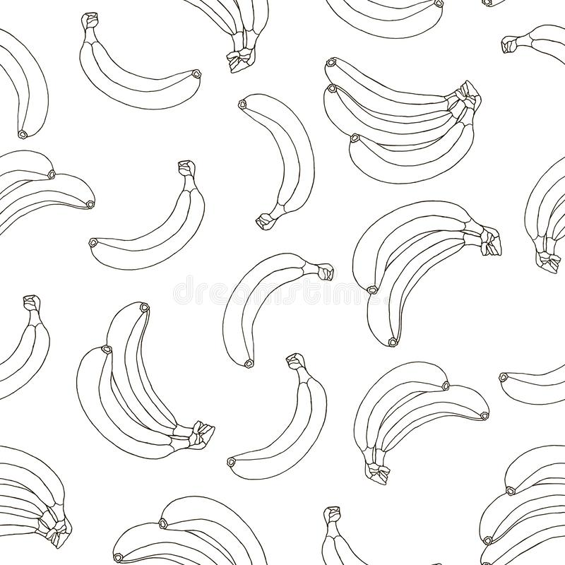 Seamless pattern of hand drawn black bananas isolated on a white background stock images