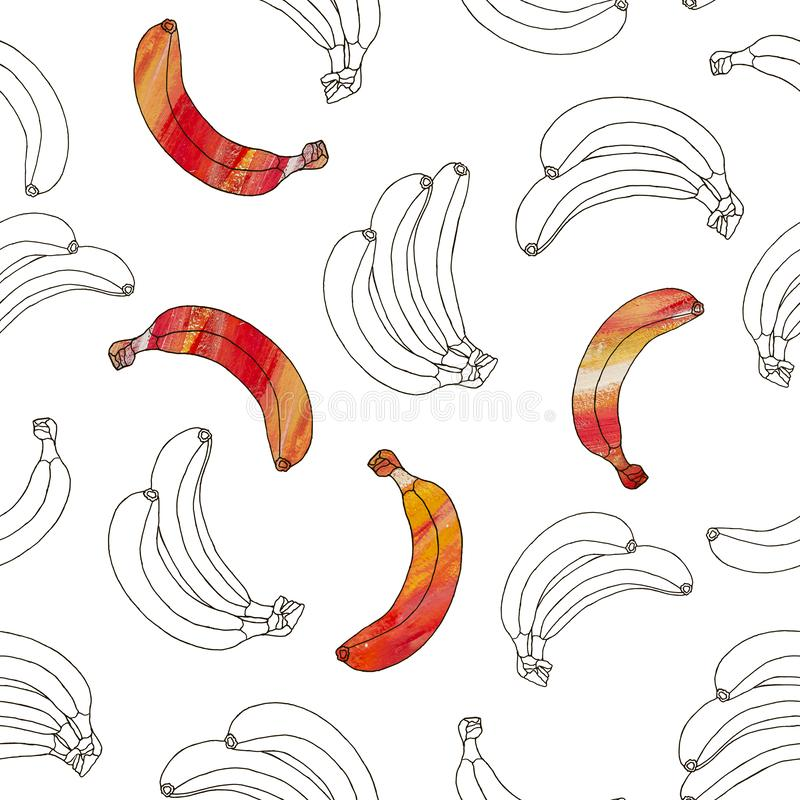 Seamless pattern of hand drawn black and orange bananas isolated on a white background. Doodle illustration royalty free stock photos