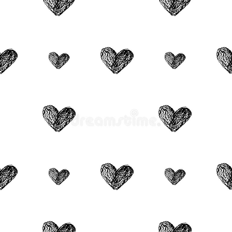 Seamless pattern with hand drawn by black pencil hearts on white background royalty free illustration