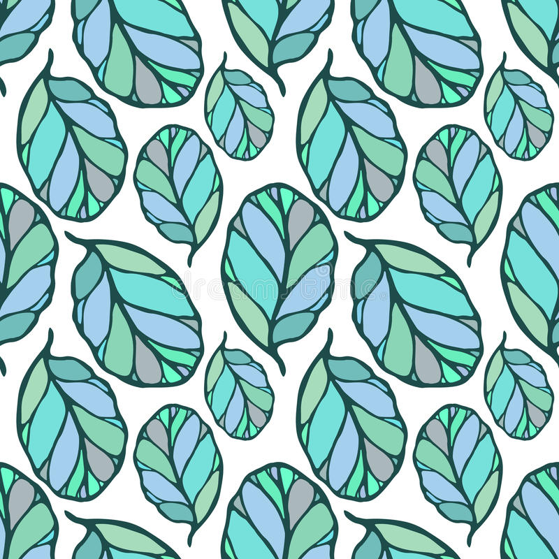 Seamless pattern with hand drawn blue and green leaves on the white background. Fabric, wallpaper, wrapping. Spring, summer doodle vector illustration