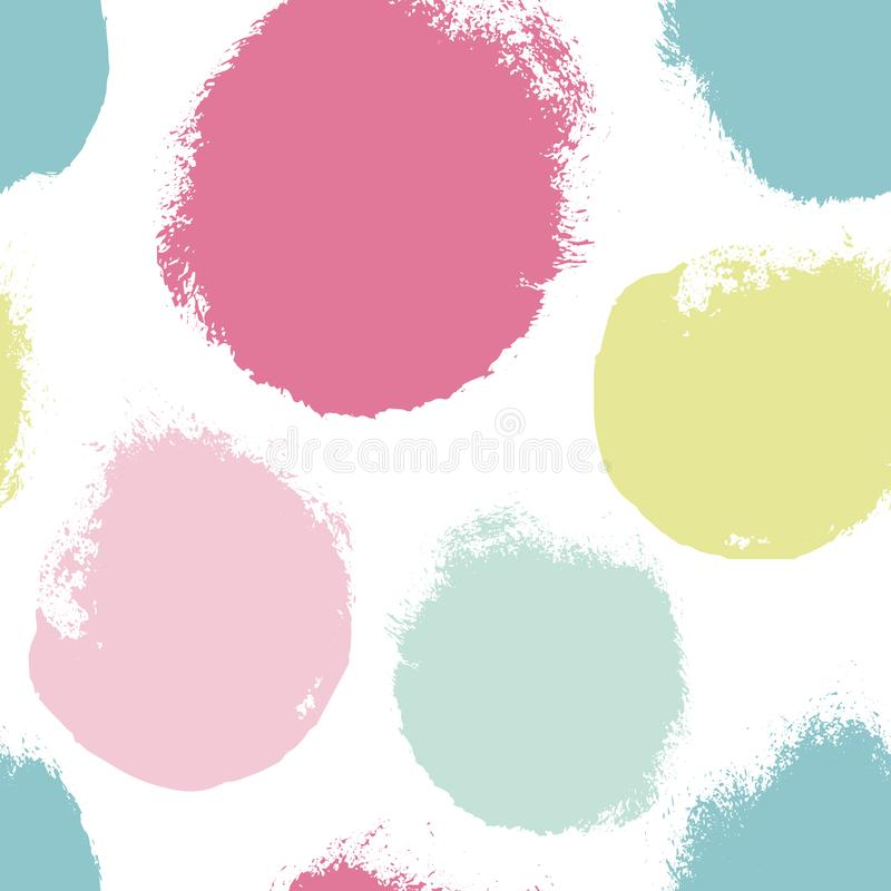 Seamless pattern of hand drawn brush spots and splashes, ink and paint textures design elements. Colorful grungy circles isolated on white. Vector Illustration stock illustration