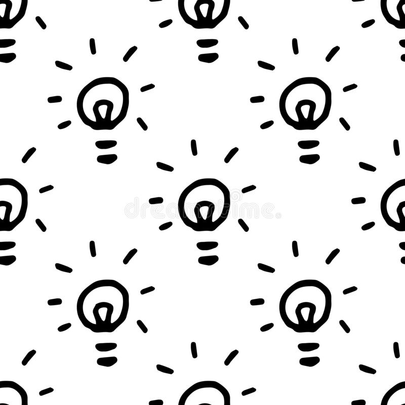 Seamless pattern Hand Drawn bulb doodle. Sketch style icon. Decoration element. Isolated on white background. Flat design. Vector royalty free illustration
