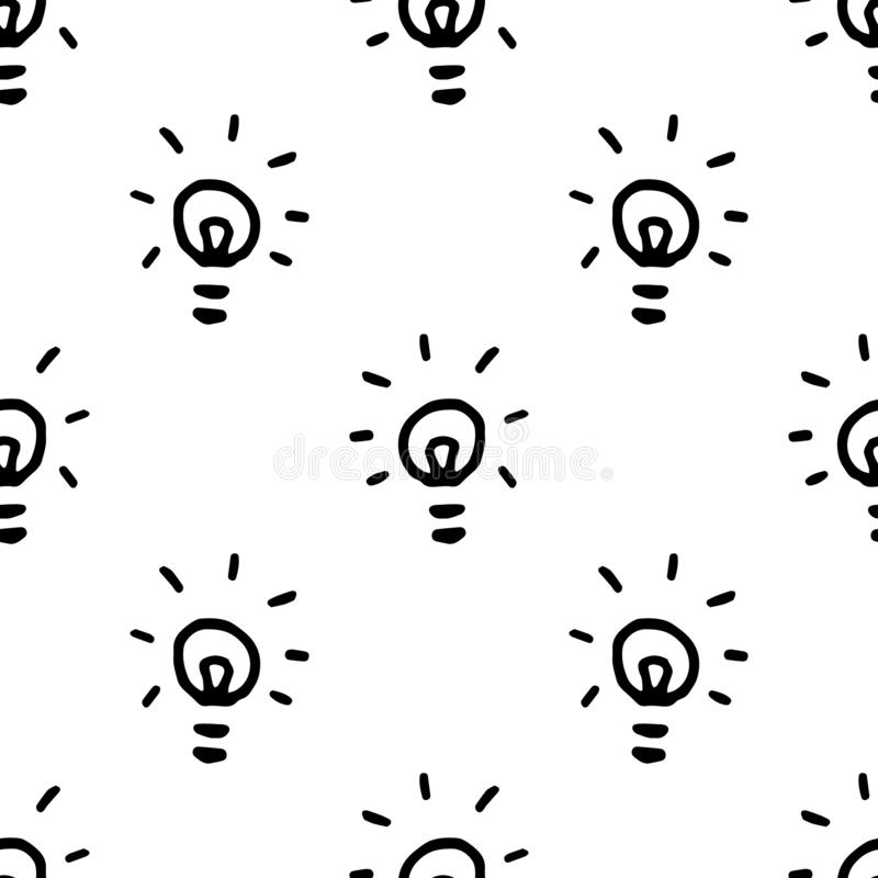 Seamless pattern Hand Drawn bulb doodle. Sketch style icon. Decoration element. Isolated on white background. Flat design. Vector. Illustration, lamp, drawing vector illustration