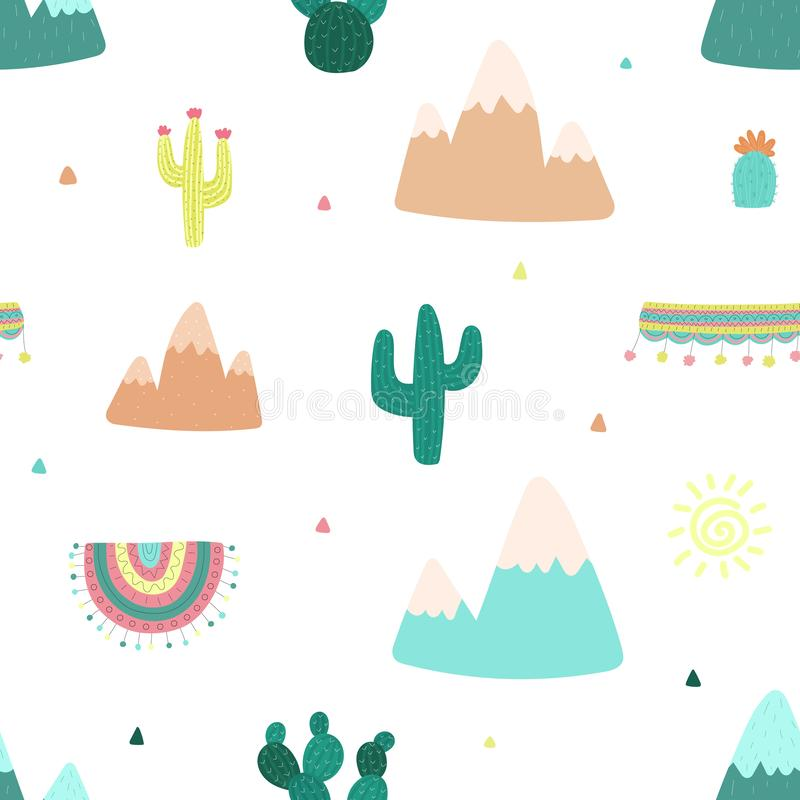 Seamless pattern of hand-drawn cacti, mountains, sun, clothes for llama with South American motifs against a light background. Ill. Ustration for children, room vector illustration
