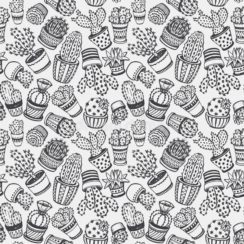 Seamless pattern with hand drawn cactus. vector illustration