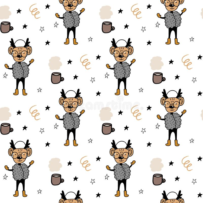 Seamless pattern with hand drawn cartoon animal deer in clothes and branches. Christmas animals pattern. Cute cartoon illustration royalty free illustration