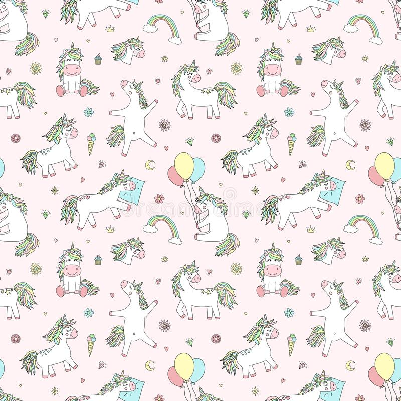 Seamless pattern of hand-drawn cartoon magical unicorns with diamonds, hearts, balloons, flowers, stars, crowns. Vector image for. Holiday, baby shower, prints vector illustration