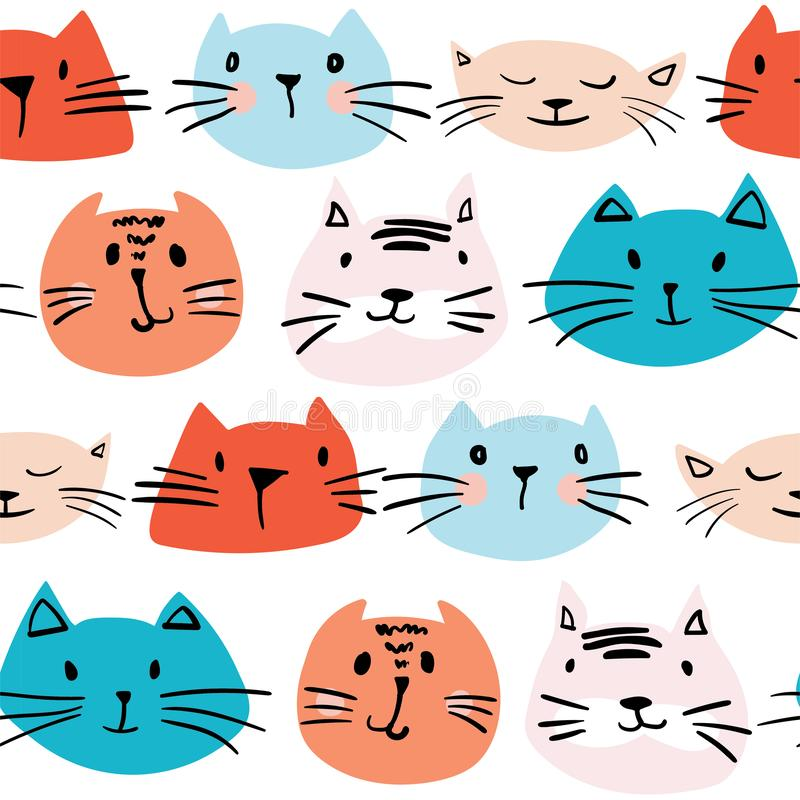 Seamless pattern with hand drawn cats vector illustration