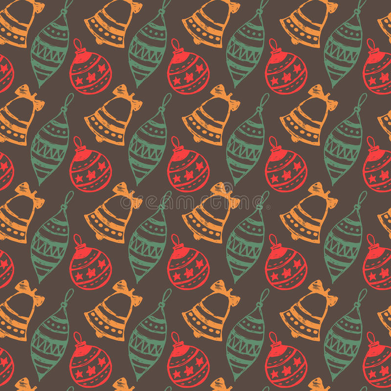 Seamless pattern with hand drawn Christmas balls. vector illustration