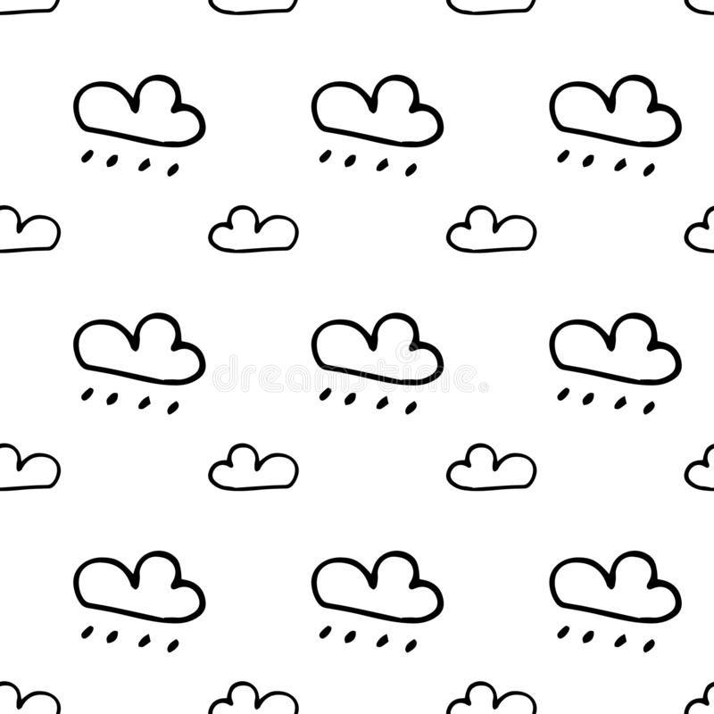 Seamless pattern hand drawn clouds. Doodle black sketch. Sign symbol. Decoration element. Isolated on white background. Flat. Design. Vector illustration vector illustration