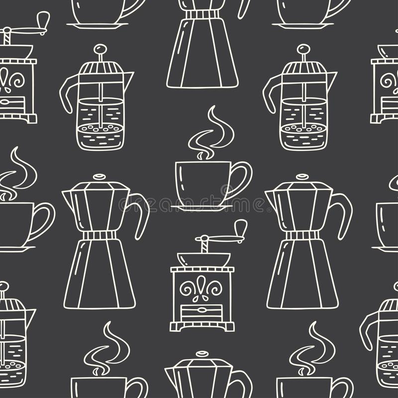 Seamless pattern with hand drawn coffee maker, grinder, American press, cup of coffee. Vector pattern on dark grey background, can be used for wrapping paper vector illustration