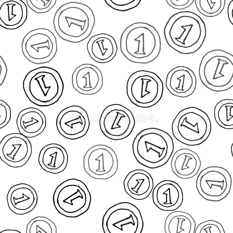 Seamless pattern Hand Drawn coin doodle. Sketch style icon. Decoration element. Isolated on white background. Flat design. Vector royalty free illustration