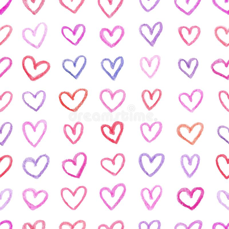 Seamless pattern with hand drawn color hearts. Childish style ornament for wrapping paper. Vector background for Valentines Day royalty free illustration