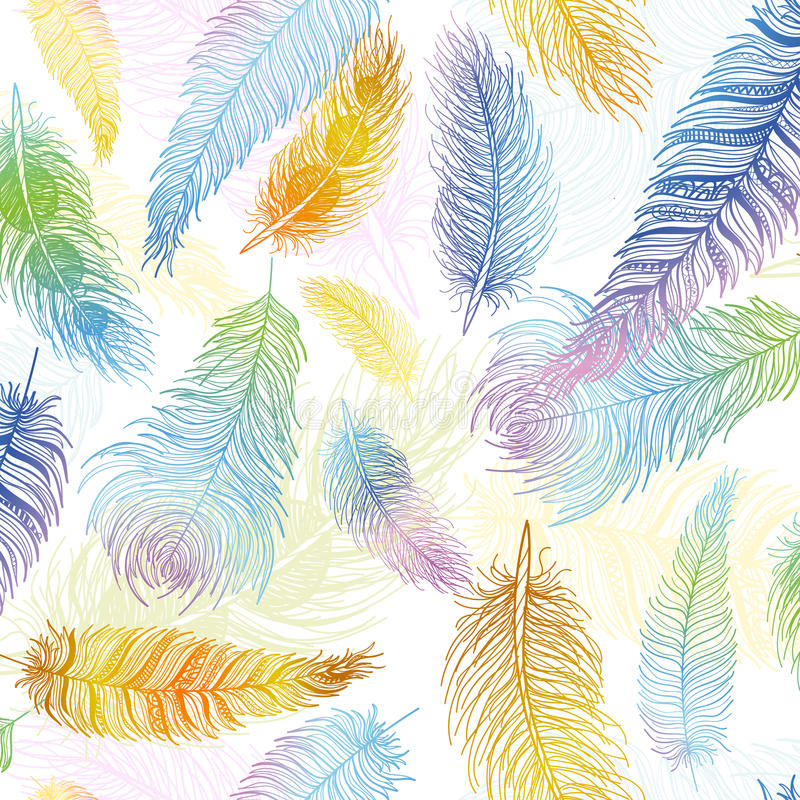 Seamless pattern. Hand drawn colored bird feathers. Boho style. Seamless pattern. Hand drawn bird feathers closeup on white background set. Boho style. Vector vector illustration