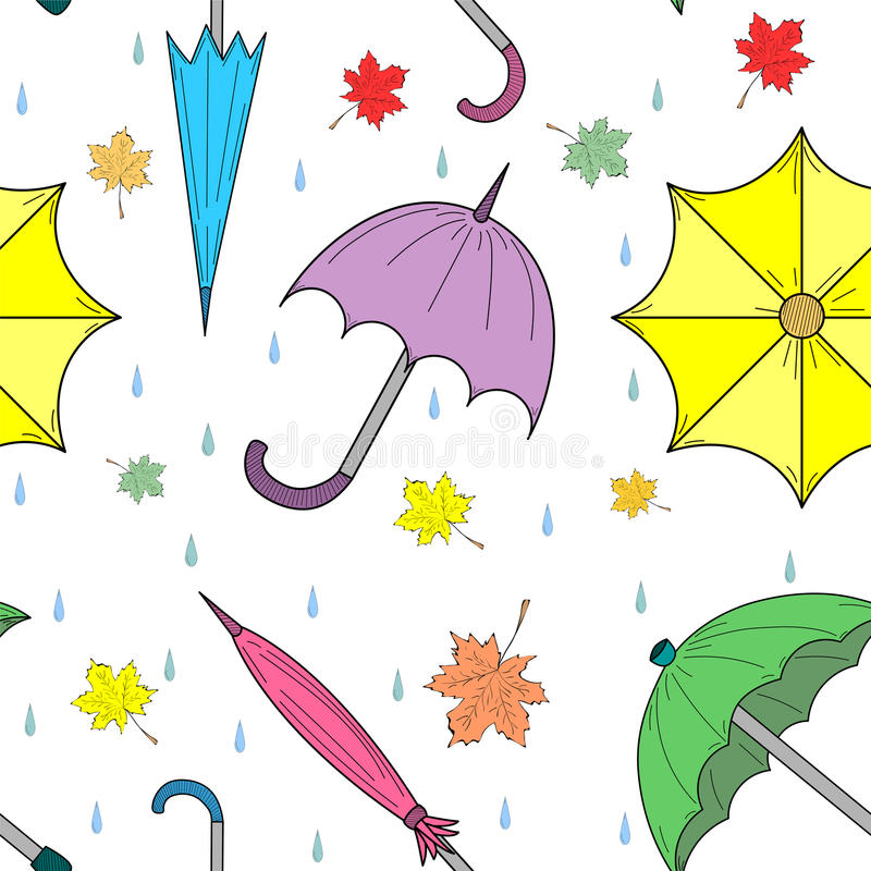 Seamless Pattern of Hand Drawn Colorful Autumn Umbrellas, Leaves and Drops. Perfect for Print. Vector illustration vector illustration