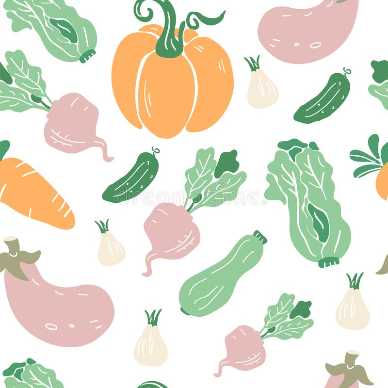 Seamless pattern with hand drawn colorful doodle vegetables. Pumpkin, aubergine, beetroot, carrot, zucchini, salad, cucumber. Seamless pattern with hand drawn stock illustration