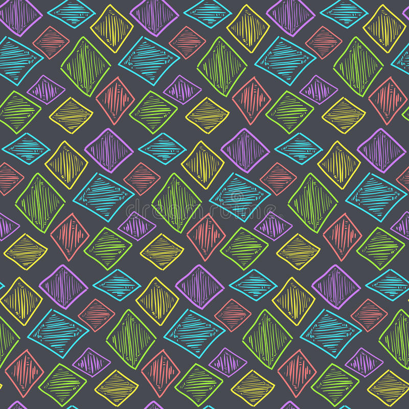 Seamless pattern with hand drawn colorful rhombus royalty free illustration