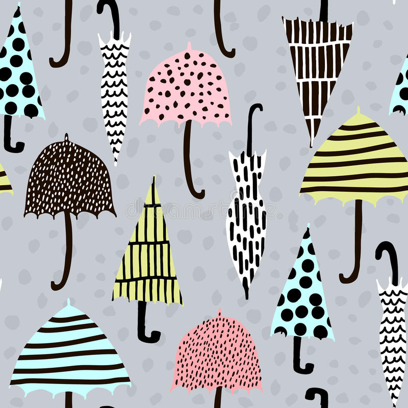 Seamless pattern with hand drawn colorful umbrellas. Childish texture. Great for fabric, textile Vector Illustration. Seamless pattern with hand drawn colorful royalty free illustration