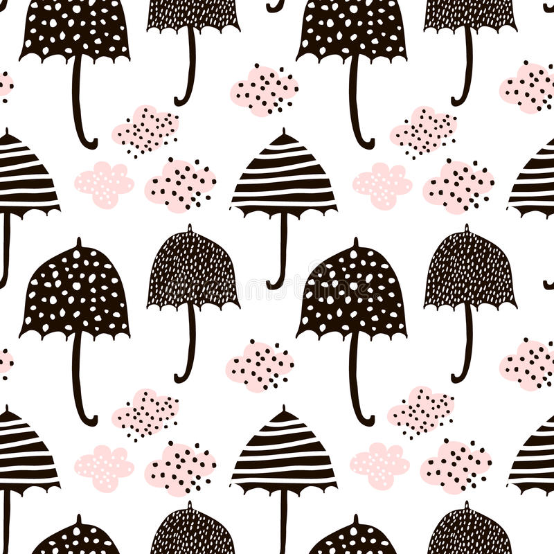 Seamless pattern with hand drawn colorful umbrellas. Childish texture. Great for fabric, textile Vector Illustration.  royalty free illustration
