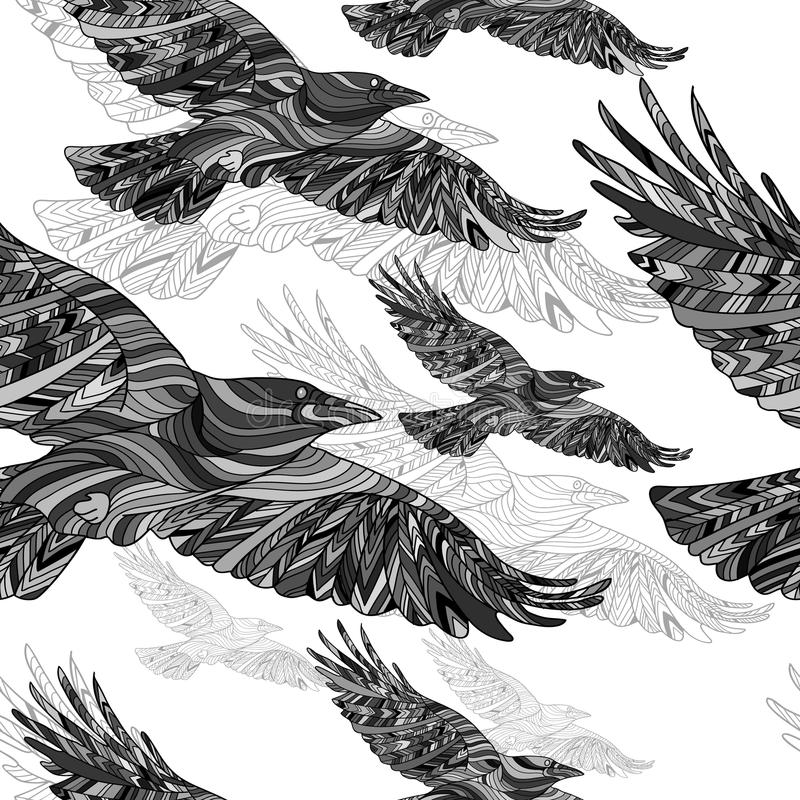 Seamless pattern of Hand-drawn crows with ethnic floral pattern. Abstract background royalty free illustration