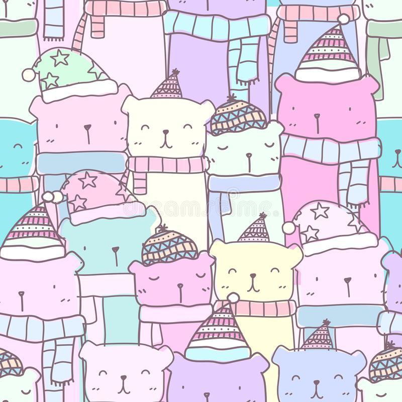 Seamless pattern with hand drawn cute bear family in pastel color. Kawaii background stock illustration