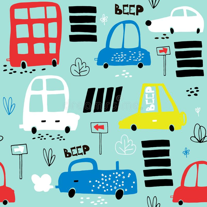 Seamless pattern with hand drawn cute car. Cartoon cars, road sign,zebra crossing illustration.Perfect for kids fabric,text. Ile,nursery wallpaper royalty free illustration