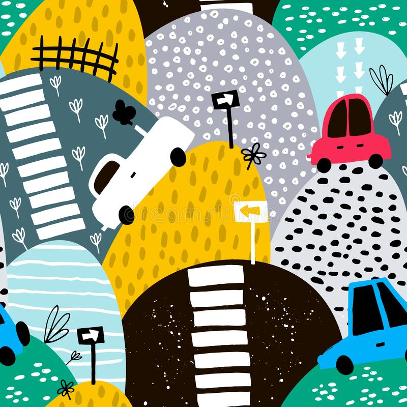 Seamless pattern with hand drawn cute car and hills. Cartoon cars, road sign, zebra crossing illustration. Perfect for kids. Fabric,textile,nursery wallpaper stock illustration
