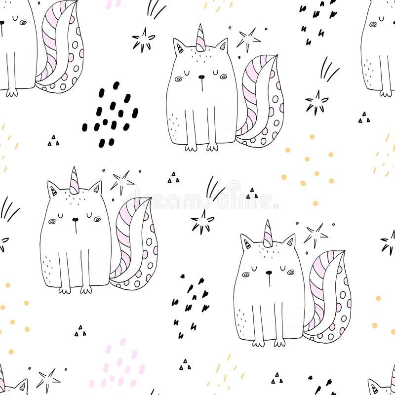 Seamless pattern with hand drawn cute cats unicorn. Cartoon cat vector illustration stock illustration