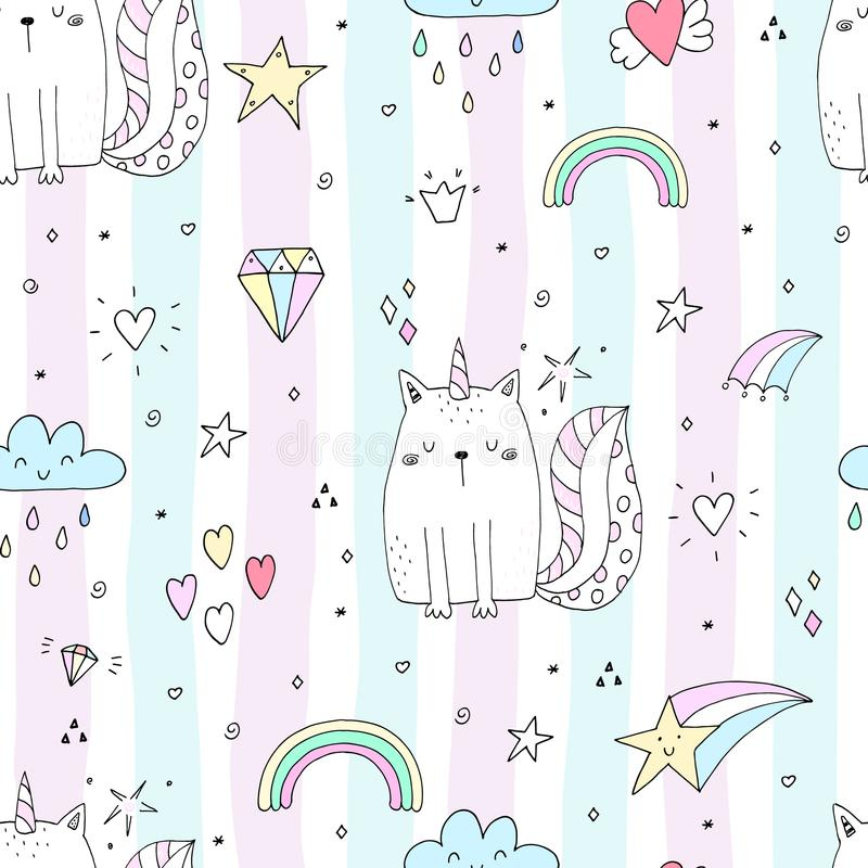 Seamless pattern with hand drawn cute cats unicorn. Cartoon cat vector illustration vector illustration