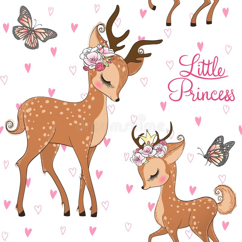 Seamless pattern with hand drawn cute, romantic, dreaming baby princess deer, fawn with floral wreath. Vector illustration royalty free illustration