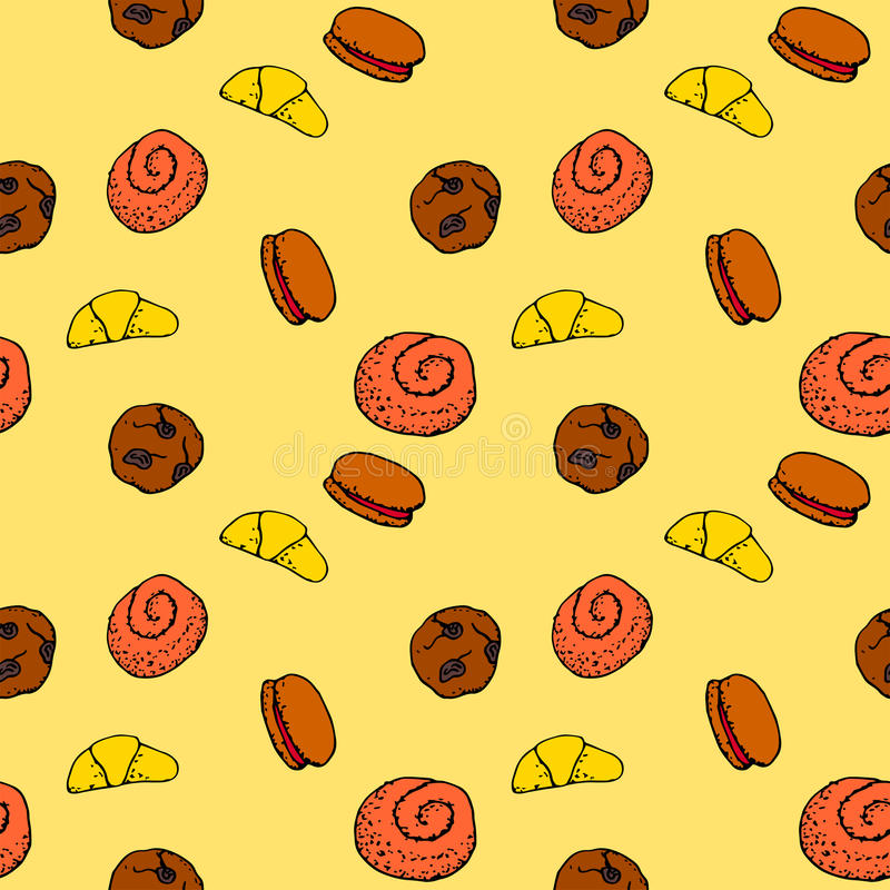 Seamless pattern with hand drawn dessert. vector illustration