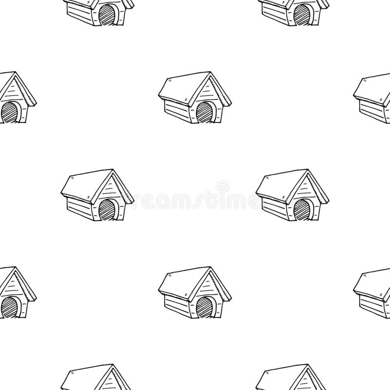 Seamless pattern Hand Drawn dog house doodle. Sketch style icon. Decoration element. Isolated on white background. Flat design. vector illustration
