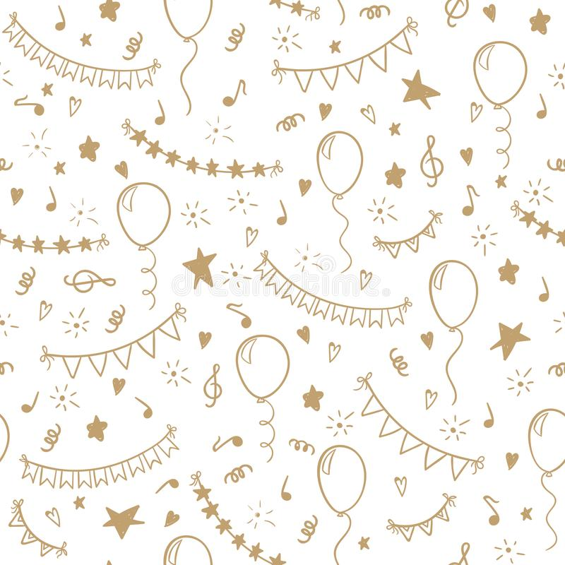 Seamless pattern hand drawn doodle cartoon objects and symbols of birthday party. design holiday greeting card and invitation of w vector illustration