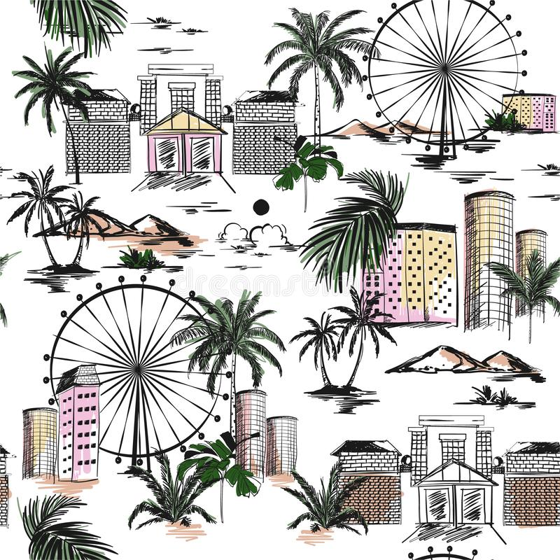 Seamless pattern with hand drawn doodle city summer mood with beach vibes palm trees and mountain Vector illustration of urban vector illustration
