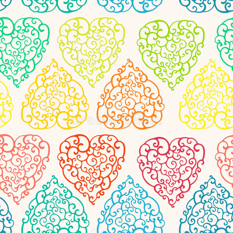 Seamless pattern with hand drawn doodle hearts. Vector illustration, template for decoration and design stock illustration