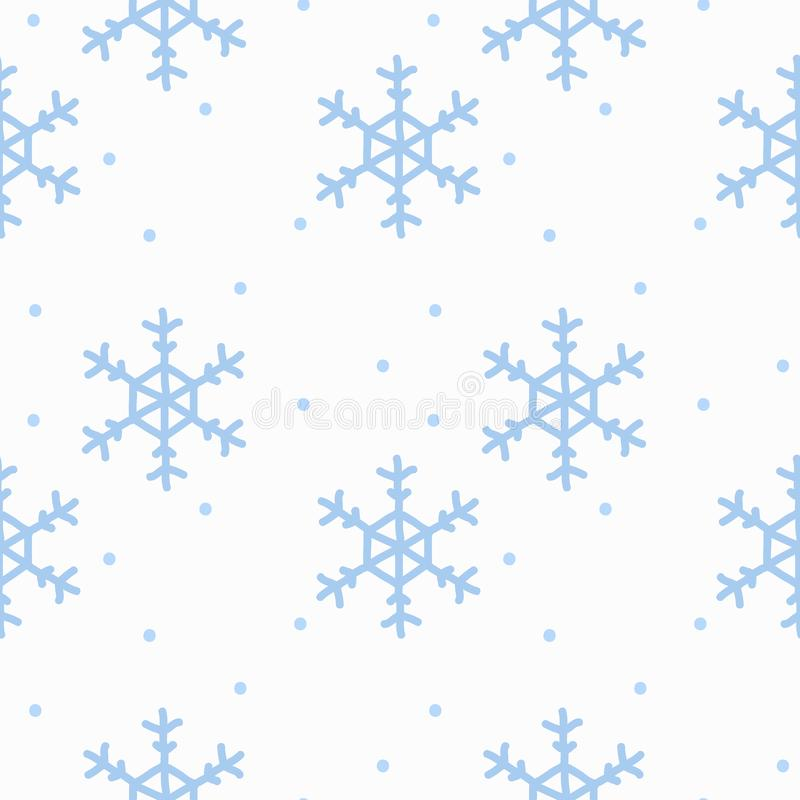 Seamless pattern with hand drawn doodle watercolor snowflakes. Winter pattern on white background royalty free illustration
