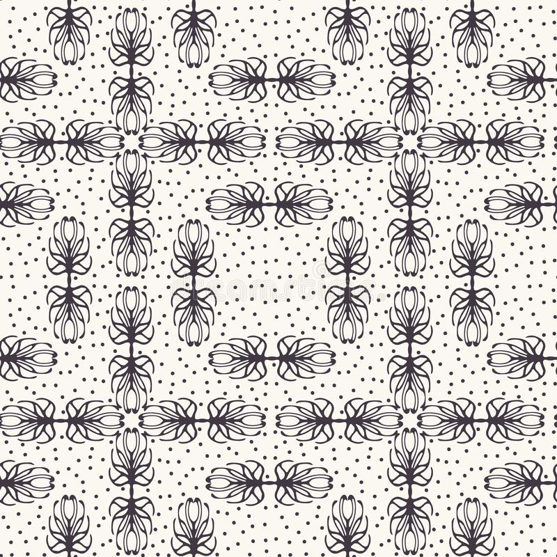 Seamless pattern hand drawn dotted trellis tracery background. Geometric monochrome allover print. Vector floral swatch. Seamless pattern hand drawn trellis royalty free illustration