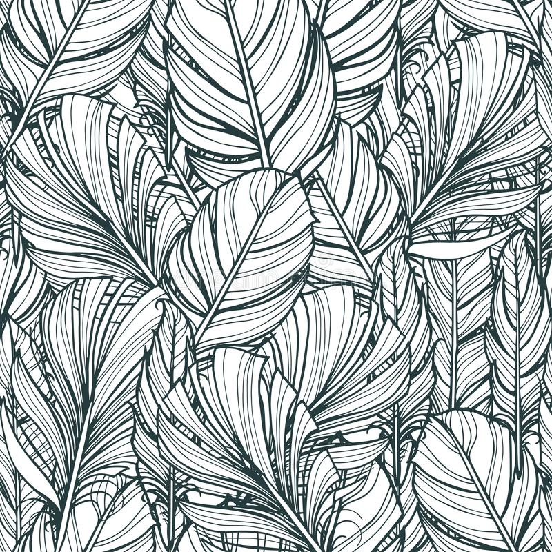Seamless pattern with hand-drawn feathers. Hippie design elements. Coloring book pages for adults vector illustration