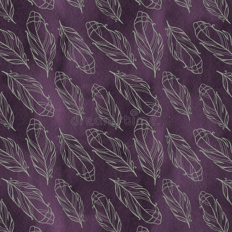 Seamless pattern with hand drawn feathers with watercolor splatters. royalty free stock photos
