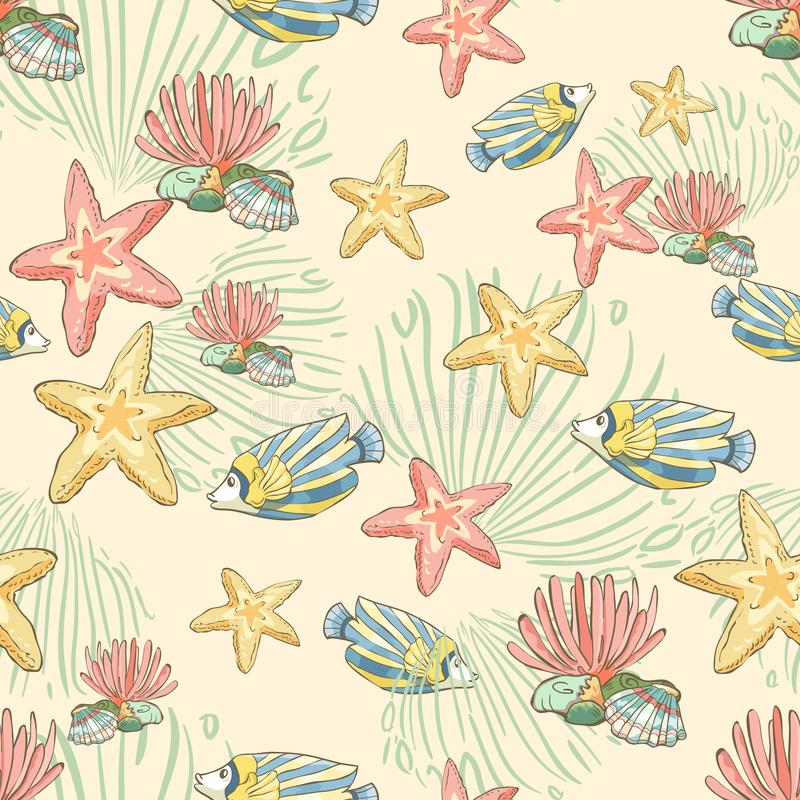 Seamless pattern with hand drawn fish and seastars. Underwater background. vector illustration